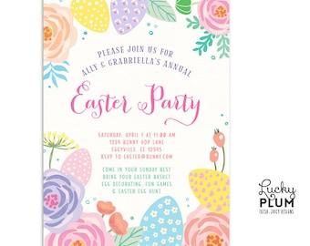 Easter Invitation / Easter Brunch Invitation / Bunny Birthday Invitation / Easter Party Invitation / Easter Bunny Invitation / Floral