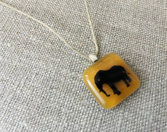Elephant Pendant Glass Jewelry Necklace of Fused Glass by Happy Owl - amber color pachyderm good luck cute kids jewelry