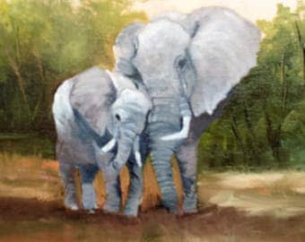 Mother Love Elephants,oils on canvas,animals,Barbara Haviland Artist Texas,Contemporary