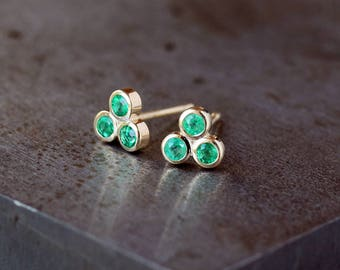 Emerald Stud Earrings, Three Stone Studs, Trinity Triangle Earrings, Emerald Trio Studs, May Birthstone, 14k Yellow Gold Post, Gift for Her