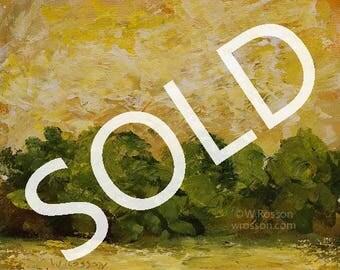 SOLD------------------Landscape Painting, Yellow Sky, Trees, Original Art, Original Painting, Winjimir, Home Decor, Office, Wall Art, Gift