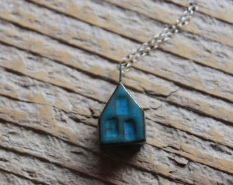 Ceramic Tiny House Necklace with Dark Teal Glaze on Sterling Silver Chain