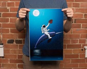 Astronaut Art Print, Narhwal Art Print, 11x17  Original Art Print Direct from the Artist