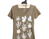 fitted L-  Heather Tan V-Neck Tee with Cactus Screen Print-White