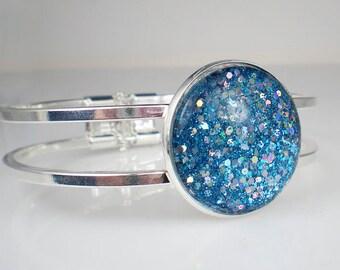 Aqua Blue Glitter Nail Polish Clamper Bracelet Glass Jewelry