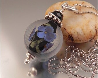 Ginnovations lampwork, Midnight Violet pendant, coldworked, with optional sterling chain