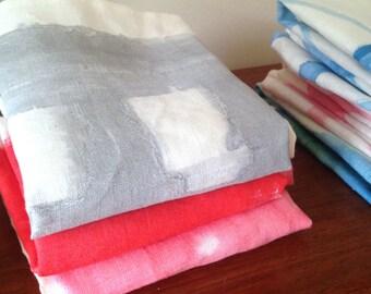 Tea towel - grey and pink grid Hand painted linen tea towel