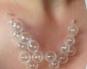 ON SALE Glass Bubble Necklace, Clear Bubble Necklace, Bubble Statement Necklace