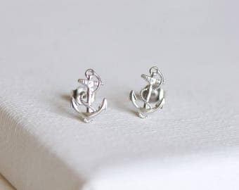 SALE . anchor stud earrings . nautical anchor earrings . silver anchor earrings . simple anchor nautical jewelry anchor jewelry //2AWAY