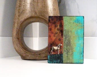 Horse Painting - Mixed Media Collage Art Painting on Wood, Copper Wall Art that would make a great houswarming gift.