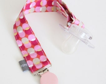 Pacifier clip - snap - enamel clip - bubbles - dots - pink - orange - cotton fabric - baby - baby girl - baby gift - baby shower - dummy