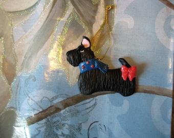 Scottish Terrier dog ornament, clay, OOAK, handmade, whimsical, bow, black, Christmas, gift