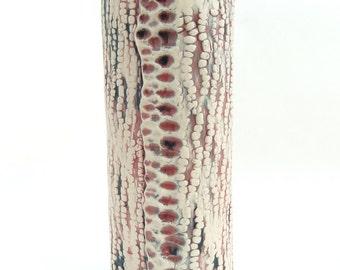 Handbuilt White, Blue, and Red Vase, Abstract Scaly Pattern, Organic Vase, Cylinder Vase, Slab Rolled Vase, One of a Kind Vase, OOAK Ceramic