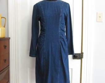 Vintage Denim Dress 80s 90s Size Small Medium Rushing Front Mainframe Long Sleeve