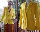 SUNSHINE 1960's 70's Vintage Bright Yellow Fitted Corduroy Blazer // by The VILLAGER // size 12 Small Medium