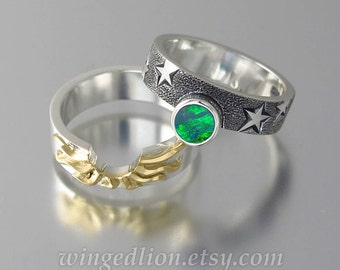 SOLAR ECLIPSE Sun and Moon Engagement ring set with Green Opal in silver and 18k yellow gold
