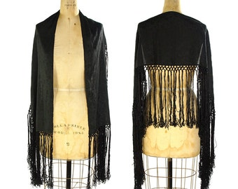 80s Piano Fringe Scarf / Vintage 1980s Black Silk Shawl / Art Nouveau Flapper Scarf with Extra Long Fringe