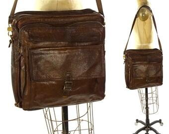 RARE Marianelli Leather Messenger Bag / Vintage 1970s Large Italian Leather Purse / Soft Slouchy Satchel / Organizer Pockets Long Strap