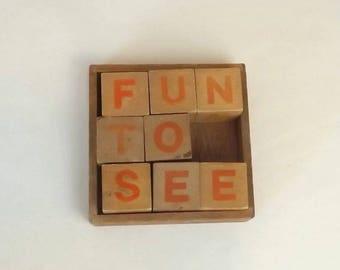 Vintage Wooden Letter Blocks in Tray, 8 Toy Blocks, Red Letters