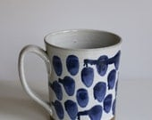 Mug with drippy blue dots Handmade Pottery Large