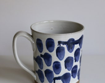 Mug with drippy blue dots Handmade Pottery Large