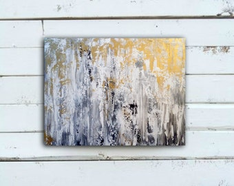 Abstract Painting With Gray And Gold, Living Room Art, Kitchen Art,bedroom  Art Part 49