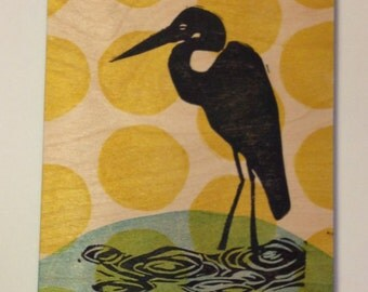 Wading Heron nature inspired one of a kind linocut