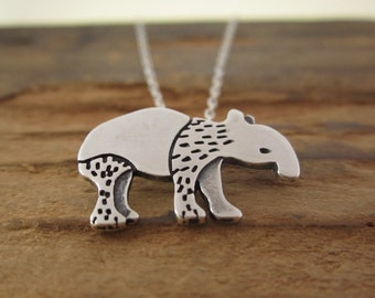 Sterling Tapir Necklace - Silver Tapir Pendant