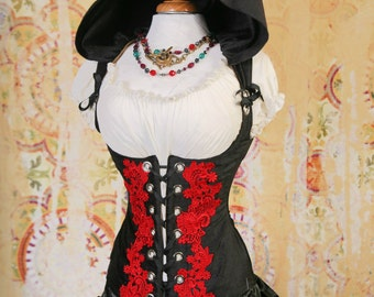 Waist 41-43 Black Hooded Vixen with Lavish Red Lace Embroidery