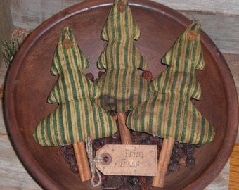 3 Primitive Grungy Rustic Green Striped Christmas Holiday Tree Ornies Bowl Fillers Ornaments Tucks