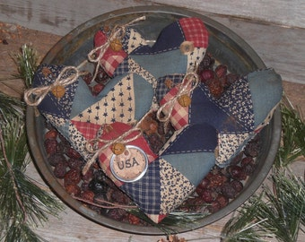 Set of 4 Primitive Grungy Rustic Red White and Blue Americana USA July 4 Patchwork Heart Shaped Bowl Fillers - Ornies - Tucks - Ornaments