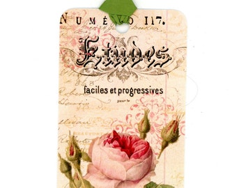 Vintage Style Gift Tags , Rose Tags , Shabby Tags , Etudes , Musical , Pink Roses , Bluebird Lane Tags, Bluebirdlane