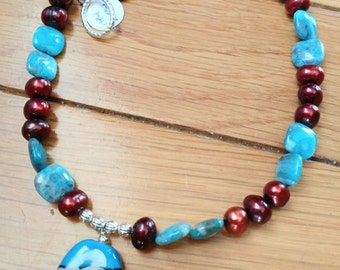 Artisan Lampwork Pendant with Freshwater Pearl & Blue Larimar Agate Necklace