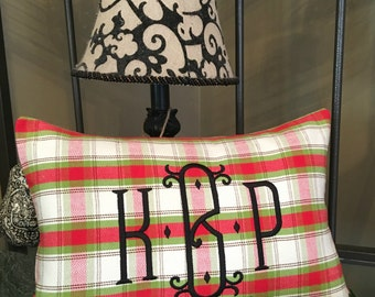 Monogram CHRISTMAS PILLOW Cover. Tartan Plaid in Red & Green for the Holidays. Limited Edition. Rustic Lodge Decor. Winter Home Decor.