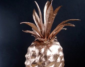 Copper metallic pineapple. Fun, modern, quirky home decor. 4th anniversary gift. Paper mache ornament, hand-painted
