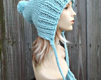 Glacier Pale Blue Slouchy Hat Blue Hat Blue Beanie Blue Knit Hat Blue Slouchy Beanie - Charlotte Slouchy Blue Ear Flap Hat - READY TO SHIP
