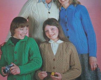 7fd0c51af Aran Cardigan Knitting Patterns Men Women Children Jacket Sunbeam 466 Sizes  32 - 38