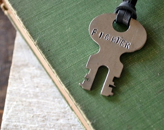 The Fighter Key - Key of Strength - Vintage Key Necklace -  Hand-stamped Key - Leather or Chain Necklace