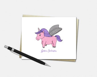 Personalized Unicorn Note Cards - Unicorn Note Cards - Set of 10 - Folded Note Cards - Stationery for Kids - Unicorn Stationery