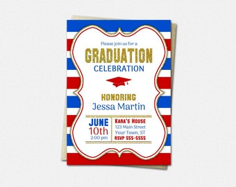 School Color Choice Graduation Invitation - PRINTABLE High School or College Graduation Invitations | striped gold glitter