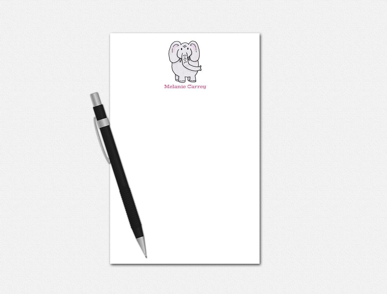 personalized notepad personalized stationery elephant
