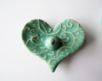 Heart Shaped Ring Holder, Ring Dish, Ring Bowl, Light Green, Ready to ship