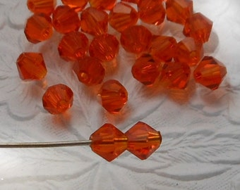 Bicone Crystal Beads Transparent Orange 5mm (Qty 20) MW-5BC-Orange