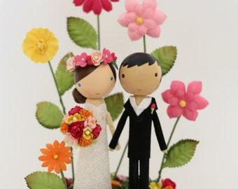 custom wedding cake topper with wood slab whimsy garden