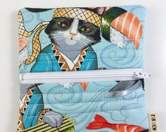 Sushi Cats Zipper Pouch For Mew Cat Love Coin Purse, Gift For Cat Lover