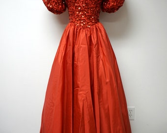 "Mike Benet Formals . red princess cut . beaded bodice . evening / prom / formal dress . size 10 / 24"" waist . made in USA"