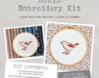 Robin - Embroidery Kit - Create a beautiful intricate Robin embroidery with this lovely kit