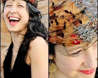 Kentucky Derby Hat, Feather Hat, Pheasant Hat, Bird Feather Hat, Church Hat, Formal Hat, Fascinator, Feather Mini Hat,