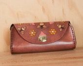 Leather Wristlet Clutch - Handmade in the Meadow pattern with bees and flowers - Pink and antique mahogany - Small Leather Crossbody Bag