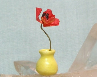 Small Miniature Bud Vase in Yellow Matte Glaze with Poppy for One Inch Scale Dolls House